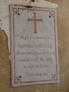Plaque Goussé