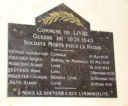 Plaque commémorative 1939-1945 Eglise Livre 53